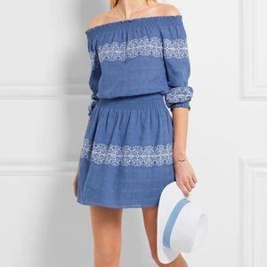 Tory Burch Loretta Dress Blue Off the Shoulder L